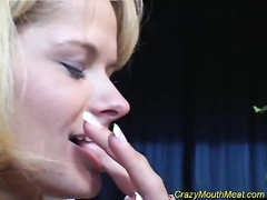 Blonde bitch sucks out a fresh portion of warm cum