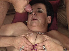 Nasty mature lady in hardcore threesome and facial
