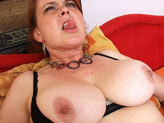 Booby amateur wife fucks her twat with huge dildo