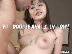 Asian hottie Marica takes two huge hard dorks in