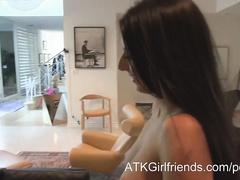 Awesome gal Nikki Daniels blows and swallows in POV
