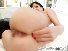 Nasty anal whore swallows cum after deep dirty anal