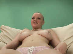 Horny nubile blonde babe showing pussy at casting