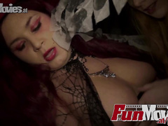 Dirty Halloween babes treated with huge hard cock
