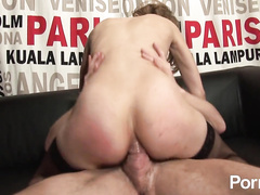 Petite bitch gets double pounded in all her holes