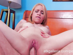 Horny blonde MILF Mae Olsen fucks cock and cums
