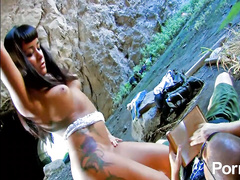 Horny French brunette fucked hard on rocky beach