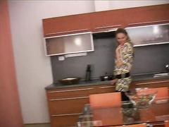 Czech slut Lenka teasing her tits and round butt