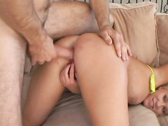Busty glam babe Karly Parker fed with huge pecker