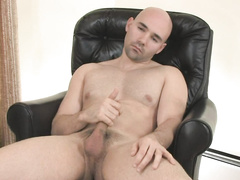Bald buddy tries to cheer up by jerking his dick