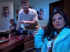 Gorgeous Alektra Blue and Kaylani Lei love amazing FFM lovemaking indoors