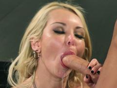 Slim blonde business woman Aaliyah Love sucks cock in the office