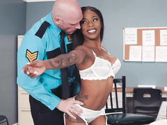 Chick with hungry pussy Sarah Banks allows guard to touch her everywhere
