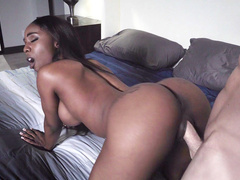 Black hottie Sarah Banks let naughty thief drill her twat from behind