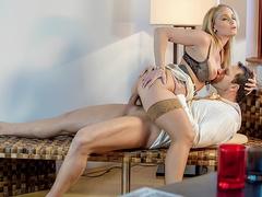 Feisty blonde secretary Kathia Nobili fucks her boss on a desk