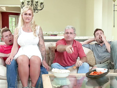 Ryan Conner rides stepson's cock and gives him blowjob in the kitchen