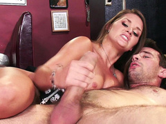 Abby Cross sucks and strokes partner's hard XXX bulge in empty cafe