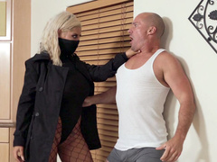 Hired assassin mom Bridgette B turns on when man touches huge chest
