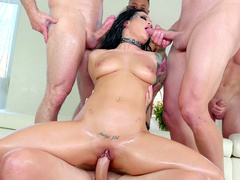 Men came to visit old friend Katrina Jade and dared to gangbang her