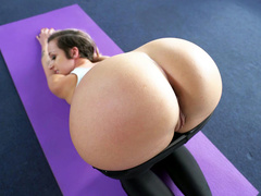 Lovely Jada Stevens during stretching teases operator with her booty