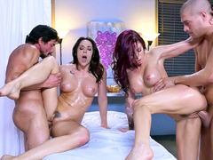 Masseurs embark group fuck with clients Chanel Preston and Monique Alexander