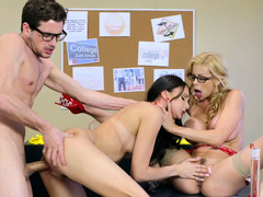Threesome sex gives a lot of pleasure to Ariana Marie and stepmom Alexis Fawx