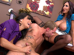 Curvaceous mom Ava Addams invited friend with huge tits Lisa Ann for threesome