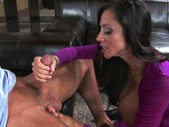 Naughty stepmom Ariella Ferrera with enormous knockers gives blowjob and licks balls