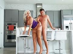 Guy impales girlfriend's stepmom with big tits Alena Croft in kitchen