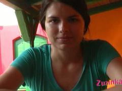 Zuzinka showing her pussy in pizzeria