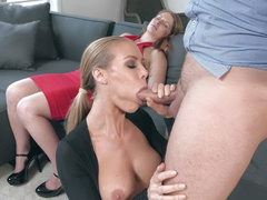 Married man agrees to receive blowjob by busty mom Nicole Aniston