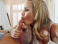 Relaxed boy can't stop stepmom Nicole Aniston from giving him blowjob