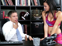 Natural Keisha Grey in a colorful tracksuit enters boss' office and wanks erect cock