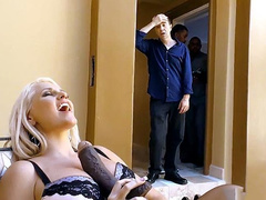 Provocative mom Alena Croft in lacy underwear plays with big black dildo