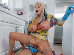 Sally D'Angelo gets banged reverse cowgirl style in the kitchen