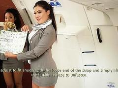 Sexy Asians Asa Akira and Kaylani Lei tease guys before flight starts