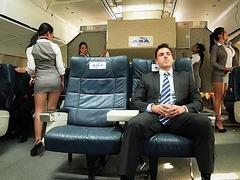 Passengers are seduced by Asian stewardesses Asa Akira and Kaylani Lei