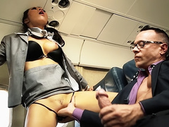 Passengers have fun with stewardesses Asa Akira and Kaylani Lei in plane