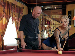 Without even asking his name Bonnie Rotten caught bald pool player