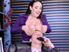 Russian boss is tempted by XXX-sized boobs of depraved Angela White