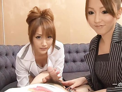 Two freaky Japan babes licking faces and spitting