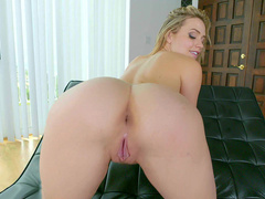 Stepmom Mia Malkova skillfully demonstrates her charms on leather lounger