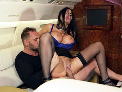 Businesswoman Jasmine Jae rides investor's manhood in his private jet