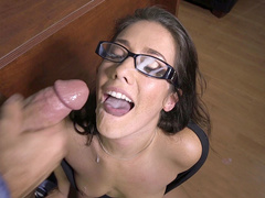 After sex office mom Eva Lovia wants boss to ejaculate on her face