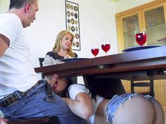 Sitter Aidra Fox sucks master's impressive manhood secretly from his wife