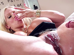 Busty MILF Alura Jenson tasting her pussy creampie