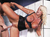 Big boobed lady Alura Jenson getting her pussy pounded in the toilet