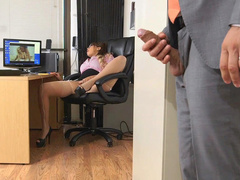 Boss jerks off to busty mom Cassidy Banks masturbating in office