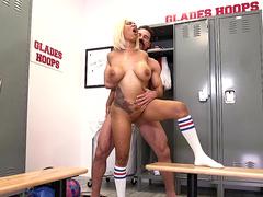 Busty ebony Yello gets fucked by her coach Charles Dera in the locker room