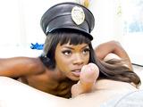 Ana Foxxx wearing police hat deepthroats his toobsnake